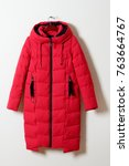 red female winter jacket with a ... | Shutterstock . vector #763664767
