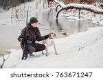 hunter and his bourbonnais... | Shutterstock . vector #763671247