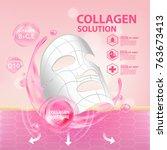 collagen serum skin care...   Shutterstock .eps vector #763673413