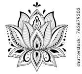 henna tattoo flower template in ... | Shutterstock .eps vector #763679203