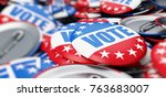 vote election on a white... | Shutterstock . vector #763683007