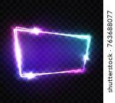 blank 3d retro light signboard... | Shutterstock .eps vector #763688077