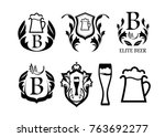 set of black blazons with beer... | Shutterstock .eps vector #763692277