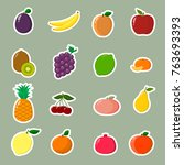 fruit symbols set of stickers... | Shutterstock .eps vector #763693393