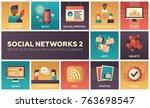 social networks   modern set of ... | Shutterstock .eps vector #763698547