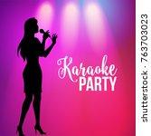 karaoke party poster  banner...   Shutterstock .eps vector #763703023
