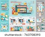 online market flat infographic... | Shutterstock .eps vector #763708393