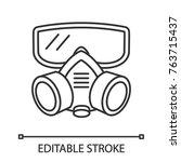 respirator linear icon. gas... | Shutterstock .eps vector #763715437