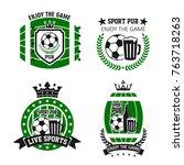soccer sport beer bar icons for ... | Shutterstock .eps vector #763718263