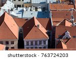 top view of rusty and red tile... | Shutterstock . vector #763724203