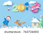 paper cut design and craft... | Shutterstock .eps vector #763726003