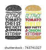 poster lettering burger. hand... | Shutterstock .eps vector #763741327