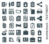 set of 36 document filled icons ... | Shutterstock .eps vector #763748047