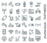 set of 36 wireless outline... | Shutterstock .eps vector #763748053