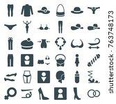 set of 36 women filled icons... | Shutterstock .eps vector #763748173