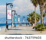 Small photo of BEIRUT, LEBANON - NOVEMBER 3, 2017 - Unidentified people on the Corniche promenade.