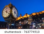 big clock at old city in... | Shutterstock . vector #763774513