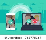 voip technology  voice over ip  ... | Shutterstock .eps vector #763775167