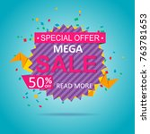 sale colorful banner discount... | Shutterstock .eps vector #763781653