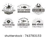 set of vintage seafood ... | Shutterstock .eps vector #763783153