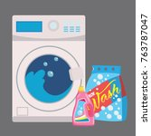 washing machine in flat style.... | Shutterstock .eps vector #763787047