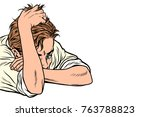man the thinker  isolated on... | Shutterstock .eps vector #763788823