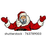 santa claus greeting gesture on ...   Shutterstock .eps vector #763789003