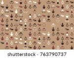 christmas pattern with... | Shutterstock .eps vector #763790737
