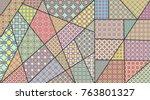 vector patchwork quilt pattern. ...   Shutterstock .eps vector #763801327