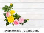pink and yellow roses  shrub...   Shutterstock . vector #763812487