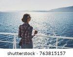 traveller girl standing on... | Shutterstock . vector #763815157