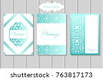 vintage invitation brochure | Shutterstock .eps vector #763817173
