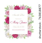 wedding invitation cards with... | Shutterstock .eps vector #763818877