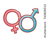 cute male and female  gender... | Shutterstock .eps vector #763828513