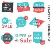 super sale and mega sale...   Shutterstock .eps vector #763829857