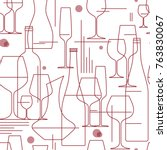 seamless background with wine... | Shutterstock .eps vector #763830067