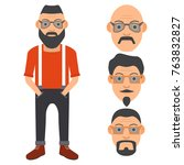the hipster with a beard and in ... | Shutterstock .eps vector #763832827