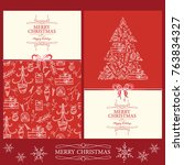 collection of christmas and new ... | Shutterstock .eps vector #763834327