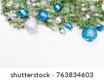 decorative background with fir... | Shutterstock . vector #763834603