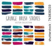 brush strokes set backgrounds.... | Shutterstock .eps vector #763838233