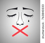 crying woman with cross on her... | Shutterstock .eps vector #763840333