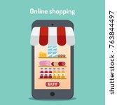 grocery online shopping.... | Shutterstock .eps vector #763844497