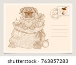 dog is the symbol of the... | Shutterstock .eps vector #763857283