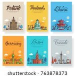 Set of outline different cities for travel destinations. Landmarks banner thin line of flyer, magazines, posters, book cover, banners. Layout world architectural flat illustrations modern pages | Shutterstock vector #763878373