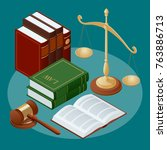 law and justice concept. public ... | Shutterstock .eps vector #763886713