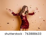 glad woman in short red dress... | Shutterstock . vector #763888633