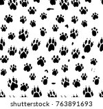 dog's paws seamless pattern....   Shutterstock .eps vector #763891693