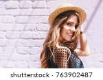 stunning long haired lady with... | Shutterstock . vector #763902487
