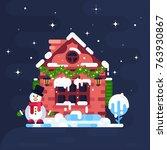 pretty winter night landscape... | Shutterstock .eps vector #763930867