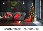 christmas party at night  in... | Shutterstock . vector #763935343
